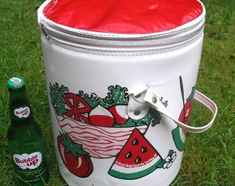 Vintage Picnic Tote - Retro Insulated Summer Beer Cooler - Large Outdoor Summer Party Bucket