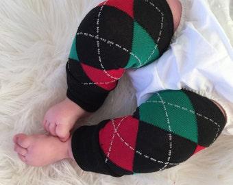 Newborn Christmas Argyle Baby Legs/ Red and Green Leg Warmers