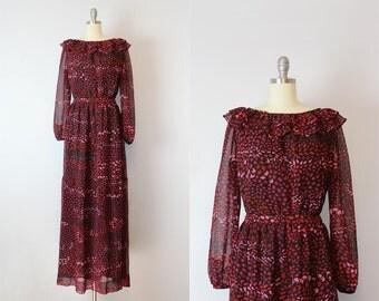 vintage 70s maxi dress / 1970s printed chiffon dress / red black pink chiffon dress / BARON PETERS dress / Dark Wood dress