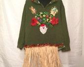 SALE! Aloha Santa Grass Skirt Tacky Ugly Christmas Sweater Mens XL Hawaii Santa Palm Trees