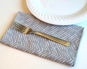 4 Dinner Napkins, Gray Cotton Twill - Set of 4 Four, Grey, Silver Tone, Hostess Gift, FREE Shipping, American Made, Chevron Style ZigZag