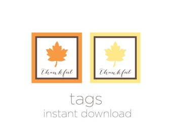 Printable Tags - Thanksgiving Tags - Party Favor Tags - Bag Tags