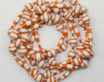 White Orange Necklace Paper Mache Necklace Extra Long Lariat. Papier Mache Beads Ethnic Style. Paper Beads. Paper Marche PS010. MapenziGems