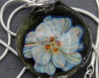 Glass Implosion Flower, Hand Blown Lampwork Boro pendant, Sparkling Blue