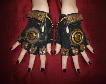 "Men's Steampunk ""MAD HATTER"" Gloves- Moonhoar, Comic Con, Apocalypse, Mad Max, Road Warrior, Burning Man, Alice Through the Looking Glass"