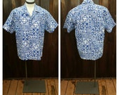 Vintage Clothing, Hawaiian Shirt, Blue and White Floral Shirt, Hawaii Five-O, Howie Brand Vintage Shirt, Aloha, 100% Cotton Adult Size XL