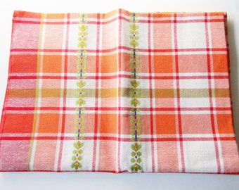 Rustic German Vintage Cotton Tablecloth Checkboard Pattern with Ornaments, Very colourful, Old new Stock unused!
