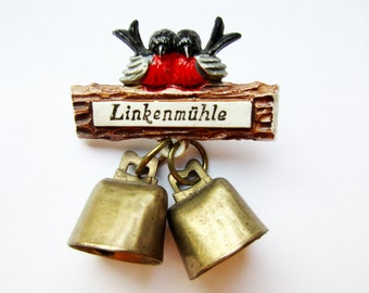 German Vintage  Hat Pin Brooch Jewelry Souvenir pin from Linkenmühle with cute Birds and Real dangling Bells