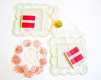 Set of 5 Pieces Original Erzgebirge Vintage Handmade Bobbin Lace Doilies- in new and unused Condition