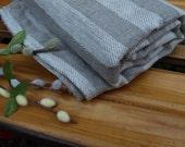 "Linen Bath Towel 35""x56 1/2"" Natural Grey Stripped Sauna Towel Spa Towel Washed Vintage Look"