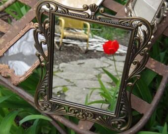 Ornate Mirror, Metal Mirror, Cast Metal Mirror, Baroque Mirror, Vintage Mirror, Tabletop Mirror, Vanity Mirror, Powder Room, Cottage Regency