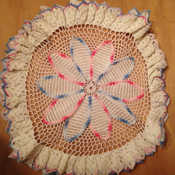 Vintage Large Dimensional Flower Doily