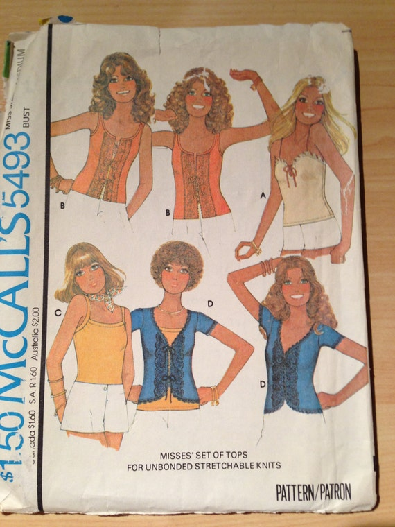 Misses Set of Tops McCalls Sewing Pattern 5493 70s Size 14-16