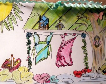 Happiness Clothesline Card, Pink Blue Dreses, Hand Drawn Pen Ink Greeting Wall Art Gift Card, Color Pencil, FromGlenToGlen, Kathleen Leasure
