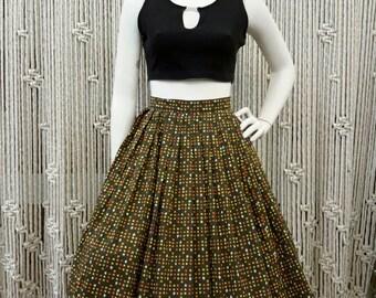 1950s olive novelty confetti print circle skirt