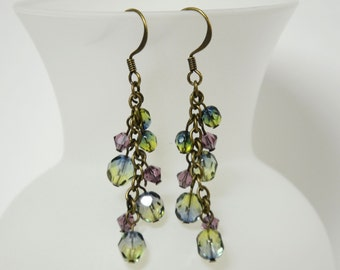 Purple and Olive Cluster Earrings, Dangle Earrings, Amethyst and Olive Beaded Earrings