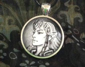 Zelda Portrait -hand painted original art inside glass pendant