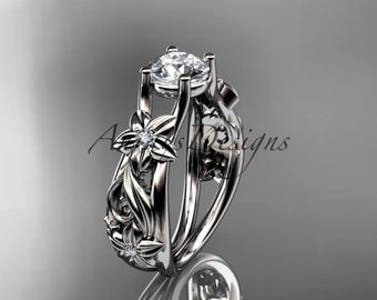 14kt white gold diamond floral wedding ring, engagement ring ADLR216