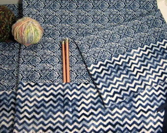 Faux Blue Burlap Quilted Knitting Crochet Needle Rolls Set, Straight Circular Crochet Double Pointed Needle Organizer