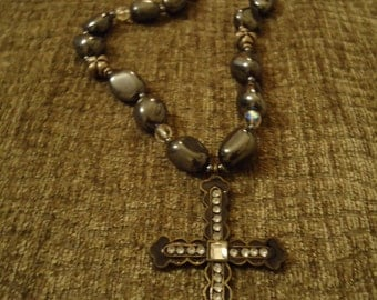 Boho Chic Handcrafted Bold Smokey Cross and Grey Skies Boho Necklace