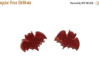 Red Bat Earrings, Glitter Sparkly Cute Stud Earrings, Creepy, Horror, Halloween Kawaii Goth