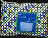 """Blue, Yellow and Green Tooth Fairy Pillow Case with Pocket for Tooth - Polka Dots, Zipper - Fits 12"""" X 16"""" Pillow Form"""