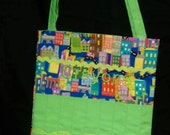 Green City, Cars Activity Bag with a Ton of Activities Included.  Cotton with 2 Long Carry Straps, Large Pockets, Batting, Super Soft, FUN!!