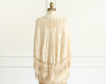 Antique Victorian Ivory Hand Embroidered Canton Silk Caplet w/ Tassels - 1910's