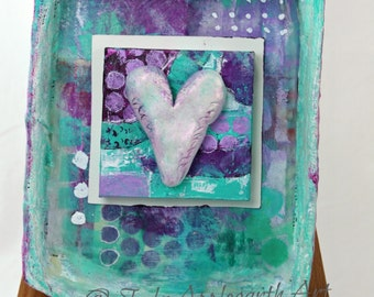 Original Mixed Media Collage Assemblage Shadowbox with Heart, OOAK