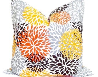 FLORAL PILLOW COVER Sale.18x18.Pillows.Floral Pillow Cover.Orange Home Decor.Floral Pillow Cover.Fall Home Decor.Fall Cushion Cover. Floral