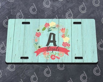 Painted Barnwood and Wreath Personalized Printed License Plate