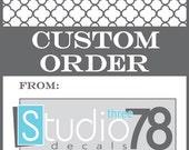 Custom Order for Whitney H. Monogram Little Girls Room Decor
