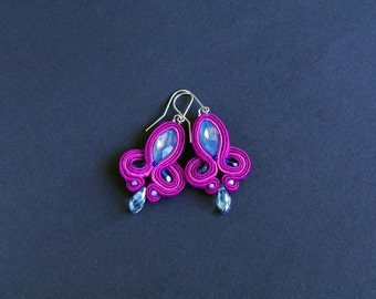 soutache earrings, small earrings, violet earrings, dangle earrings, crystal earrings, braid earrings, gift for woman, gift for her,