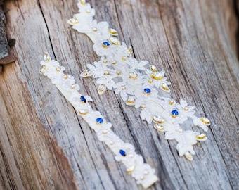 Wedding Garter,Swarovski Crystal Bridal Garter,Rhinestone Wedding Garter Set,Lace Garter,Something Blue, Woodland Wedding Accessory