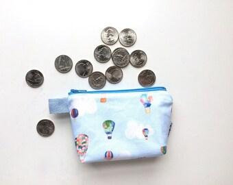 Hot Air Balloons Divided Mini Flat Bottom Pouch / Coin Purse (handmade philosophy's pattern)