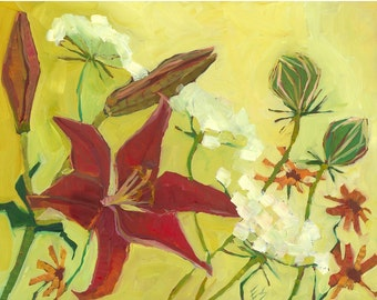 Red Lily And Queen Ann's Lace Original Oil Painting