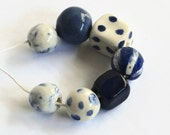 African beads, beads made in Africa, clay beads, blue beads, white beads, earthbutter beads, made in Africa, 7 clay beads, clay