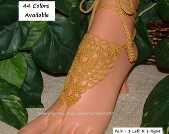 Gold Anklet or Ivory Wedding Barefoot Sandals Sexy Foot Jewelry Bellydance Shoes Beach Pool Footwear Summer Barefoot Legwear Crochet Sandles