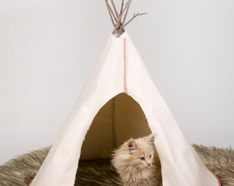 Pet Tipi for Cats or Small Dogs With Faux (fake) Fur dark brown rug