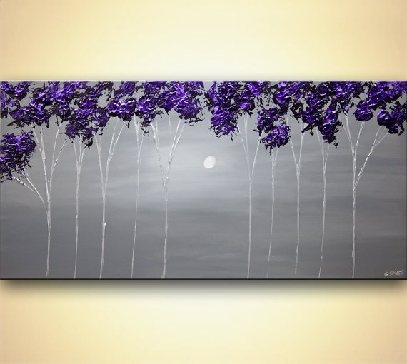 contemporary blooming tree painting purple gray landscape. Black Bedroom Furniture Sets. Home Design Ideas