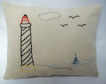 Primitive Hand Embroidered Lighthouse Mini Pillow