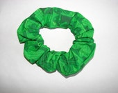 St. Patricks Day Shamrock Green Handmade Fabric Hair Scrunchie, women's accessories, holiday gifts for her, womans scrunchies, girl hair tie