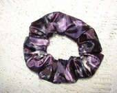 Silky PURPLE Floral Fabric Hair Scrunchie, women's accessories, gifts for her, flowers spring, country western, girls ties