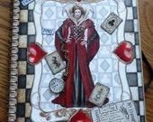 Altered notebook. Alice in Wonderland,Queen of Hearts, journal,notebook,poetry book,