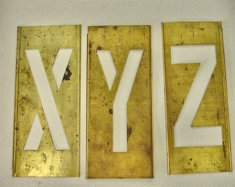 Brass Stencil Letters Large Size XYZ Letters Crafts Altered Art Mix Media Industrial