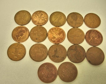 Vintage Lot of 17 World Coins 1970s to 1990s Elizabet New Pence Lot No. 5