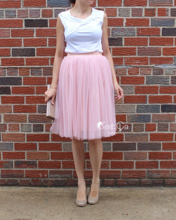 12e260d704 Corinne - Gray Pink Tulle Skirt, Champagne Tulle Skirt, Soft Tulle Skirt, 4