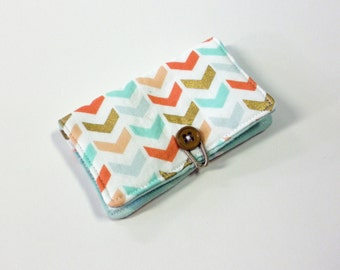 Coral Soft Broken Chevron Fabric Business Card Holder, with Green Mini Triangle - Credit Card Holder, Cloth Card Holder, Gift Card Holder