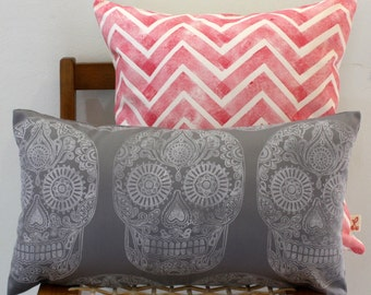 White on grey Sugar Skull Day of the Dead hand block printed decorative scatter cushion cover
