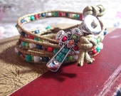 SALE cross Men Woman Leather Turquoise Glass Bead Seed Wrap Bracelet Western Indian Southwestern